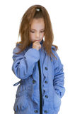 Girl-preschooler in blue jacket Stock Photography