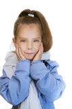 Girl-preschooler in blue jacket Stock Images