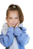 Girl-preschooler in blue jacket Stock Images
