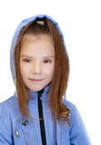 Girl-preschooler in blue jacket Royalty Free Stock Photos