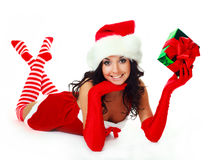 Girl with a present Royalty Free Stock Images