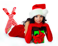 Girl with a present Royalty Free Stock Image