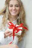 The girl with present Stock Photo