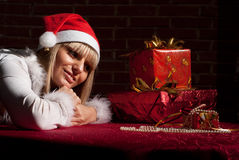Girl with present Stock Images