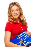 Girl with present Royalty Free Stock Image