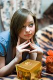 Girl with present Royalty Free Stock Photo