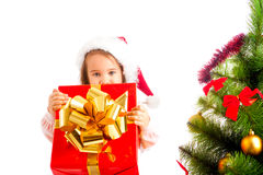 Girl with present box Stock Photo