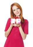 Girl with present box Royalty Free Stock Photo