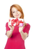 Girl with present box Royalty Free Stock Image
