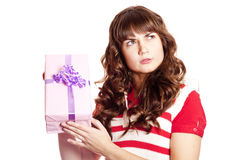 Girl with present box. Royalty Free Stock Photo