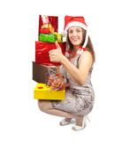 Girl with present boxes Stock Images