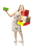 Girl  with present boxes Stock Photography