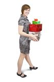 Girl with present boxes Royalty Free Stock Photography