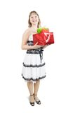 Girl with present boxes over white Stock Photo