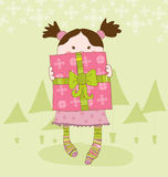 Girl with Present Chrismas Card Royalty Free Stock Photo