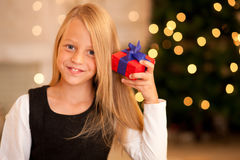 Girl with present at Christmas Royalty Free Stock Photo