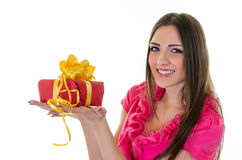 Girl with present Stock Photos