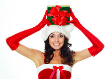 Girl with a present on her head Stock Images