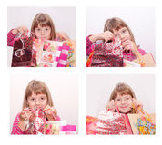 Girl with present pockets Stock Photo