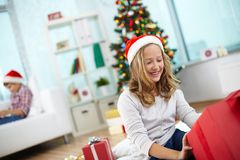 Girl with present Royalty Free Stock Images