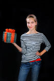 Girl with present Stock Photography