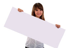 Girl With Presentation Board Banner. Royalty Free Stock Photos