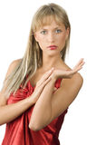 Girl presenter Stock Photo