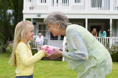 Girl (4-6) presenting birthday gift to grandmother in summer garden, smiling, profile, family members on house veranda in. Background stock photography