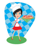 Girl presenting a delicious pizza Royalty Free Stock Images