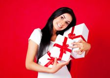 Girl with presents Royalty Free Stock Photography