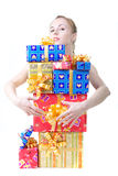 Girl with presents Royalty Free Stock Photos