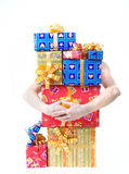 Girl with presents. Girl hands  with christmas presents Stock Images