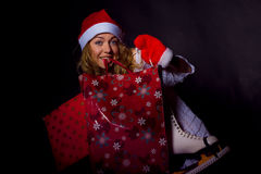 Girl with presents for Christmas Stock Photo