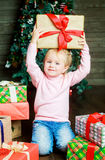 Girl with presents Stock Photos