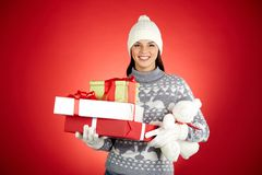 Girl with presents Stock Images