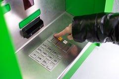 Girl press ATM EPP keyboard. Press ATM EPP keyboard button stock photography