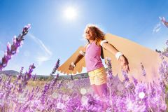 Girl pretending to be a bird in lavender meadow. Side view portrait of joyful girl, wearing cardboard wings, pretending to be a bird in lavender meadow at sunny Stock Image