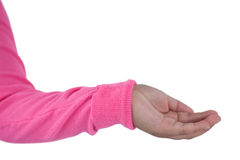 Girl pretending to be hold invisible object Stock Image