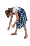Girl pretending to be holding invisible object Stock Image