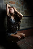 Girl with pretty long curly hair Royalty Free Stock Images