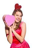The girl in pretty pink dress with gift box Stock Photo