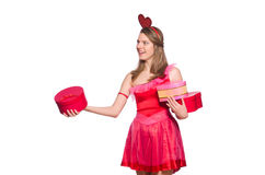 The girl in pretty pink dress with gift box Royalty Free Stock Image