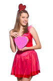 Girl in pretty pink dress with gift box isolated Royalty Free Stock Photo