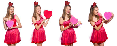 The girl in pretty pink dress with gift box isolated on white Stock Images