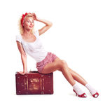 Girl with pretty smile in pinup style Royalty Free Stock Photo