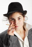 Girl with pretzel stick Royalty Free Stock Image