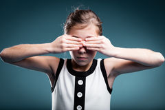 Girl preventing herself to see Royalty Free Stock Image