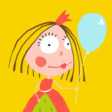 Girl Princess with Balloon and Crown in Beautiful Stock Images