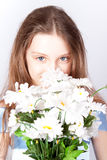 Girl the princess with a bouquet. Stock Photos