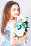 Girl the princess with a bouquet. Royalty Free Stock Image